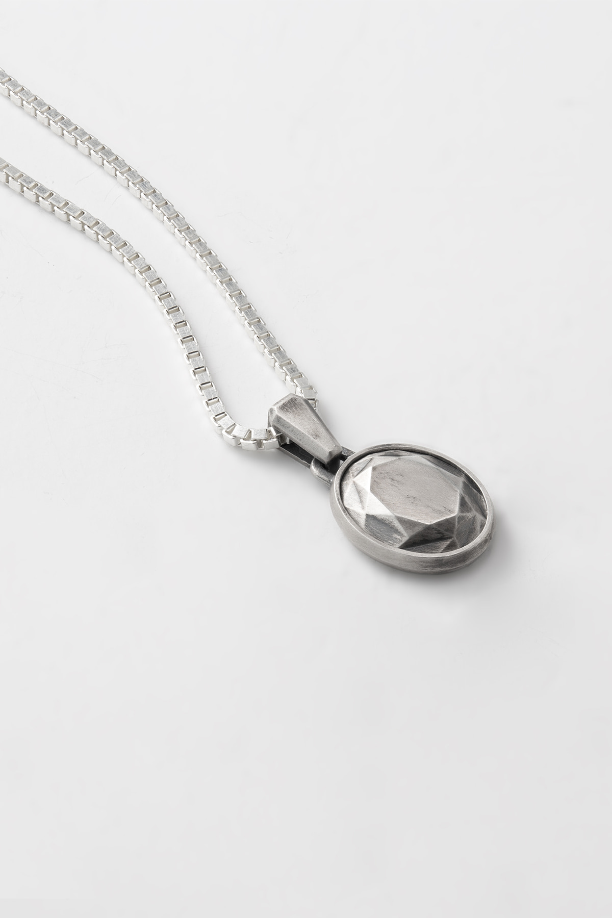 Oval Cut Silver Necklace